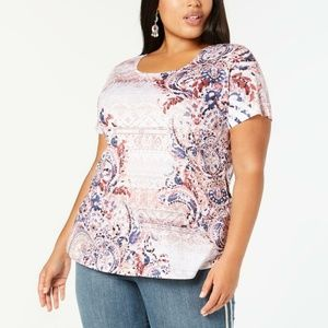 Style & Co Plus Size Multi Printed Pullover Top